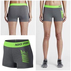 Nike Pro Cool Grey / Green Graphic Training Shorts
